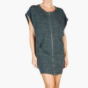 DIESEL sweatshirt dress speckled gray zipper sport